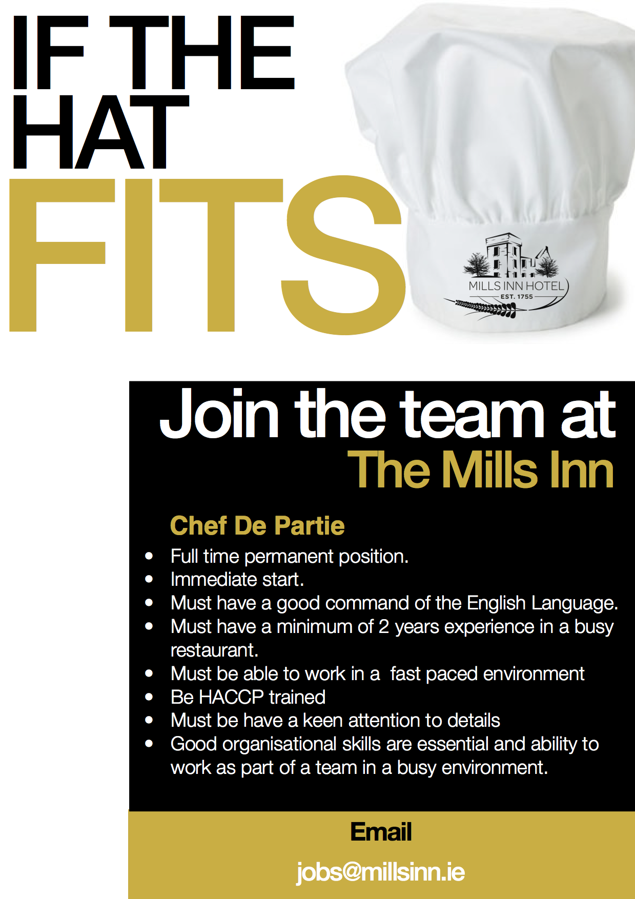 Chef Advert The Mills Inn West Cork
