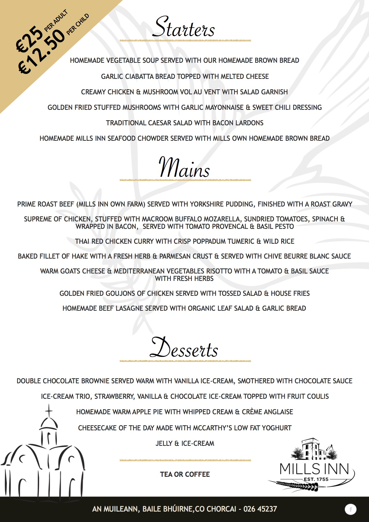 Communion Menu 2018 Mills Inn