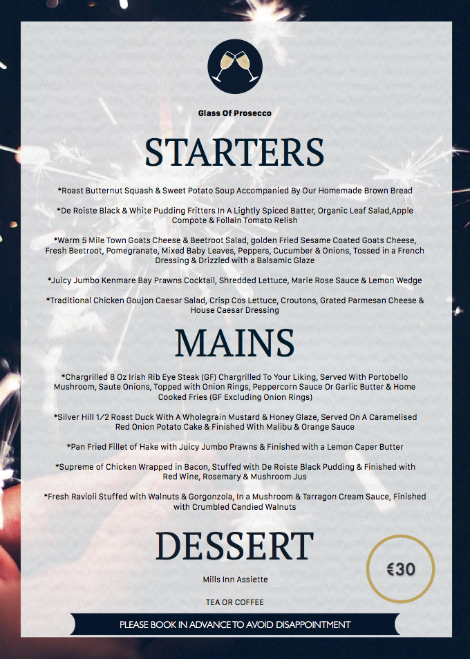 Mills Inn New Years Menu 2016