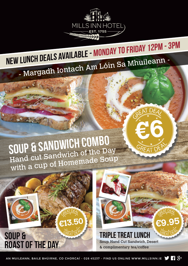Mills Inn West Cork New Lunch Time Offers