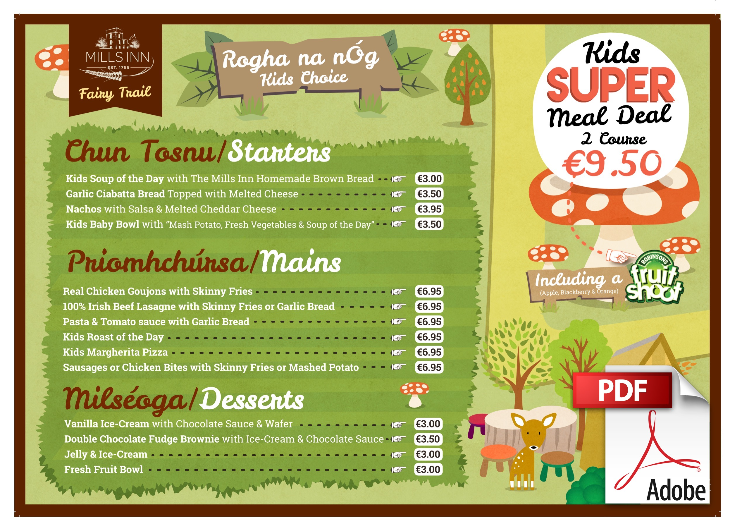 Mills Inn Kids Choice Menu
